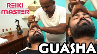 ASMR GUASHA HEAD MASSAGE, NECK, BACK MASSAGE BY  REIKI MASTER 💆INDIAN BARBER DEEP TISSUE