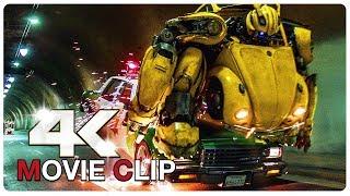 Bumblebee Vs Police Car Chase Scene - BUMBLEBEE (2018) Movie CLIP 4K