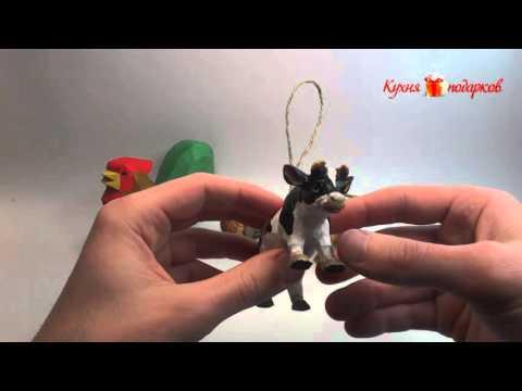 Деревянные игрушки корова и петух