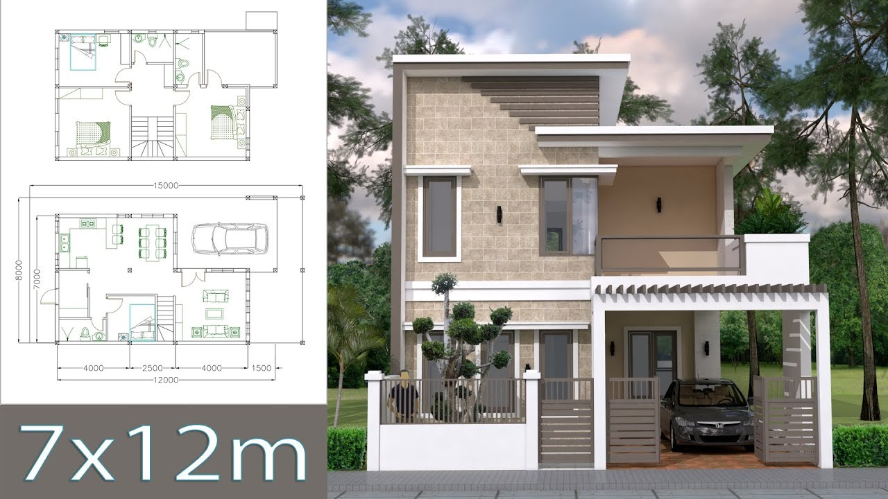 Home Design Plan 7x12m with 4 Bedrooms Plot 8x15 - YouTube