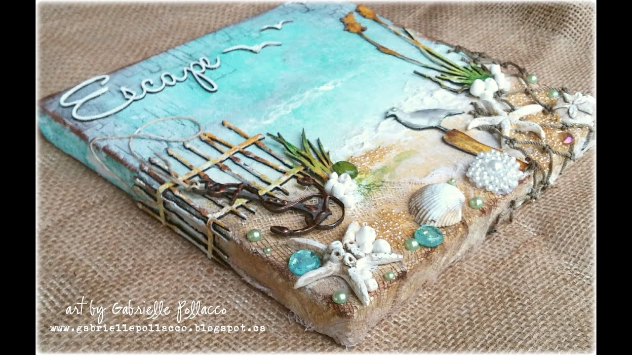 Mixed media beach canvas tutorial