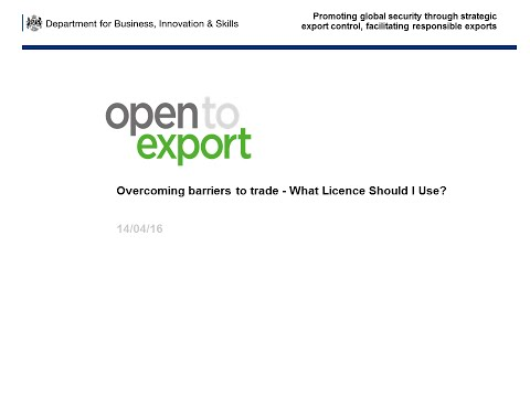 Webinar: What licence do I need to export?