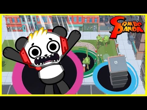 Lets Play Hole.io with Combo Panda! I ATE A WHOLE BUILDING !!!