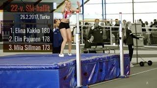 22-v. SM-hallit | Turku 26.2.17 | naisten korkeushyppy | 1. Kakko 180...