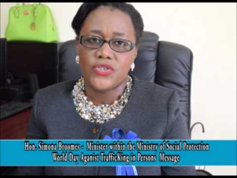 Minister within the Ministry of Social Protection Simona Broomes message on Human Trafficking