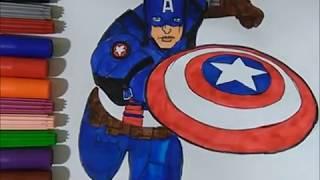 Vẽ Và Tô Màu Captain America | Drawing Captain America - TÔ MÀU TV