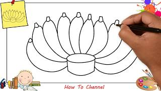 How to draw a bunch of bananas EASY step by step for kids, beginners, children