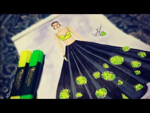 Crop Top And Lehenga Design Drawing Ii Fashion Dress Drawing Step Bystep Youtube