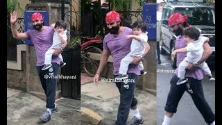 Taimur Ali Khan In A Fun Mood With Dad Snapped Outside His Home Without Mom Kareena Kapoor Khan