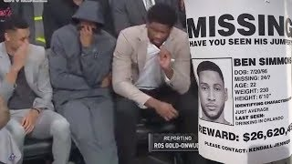 """Sixers Bench LOSES It After Someone Rips GIANT Fart! Ben Simmons TROLLED With """"Missing"""" Flyer!"""
