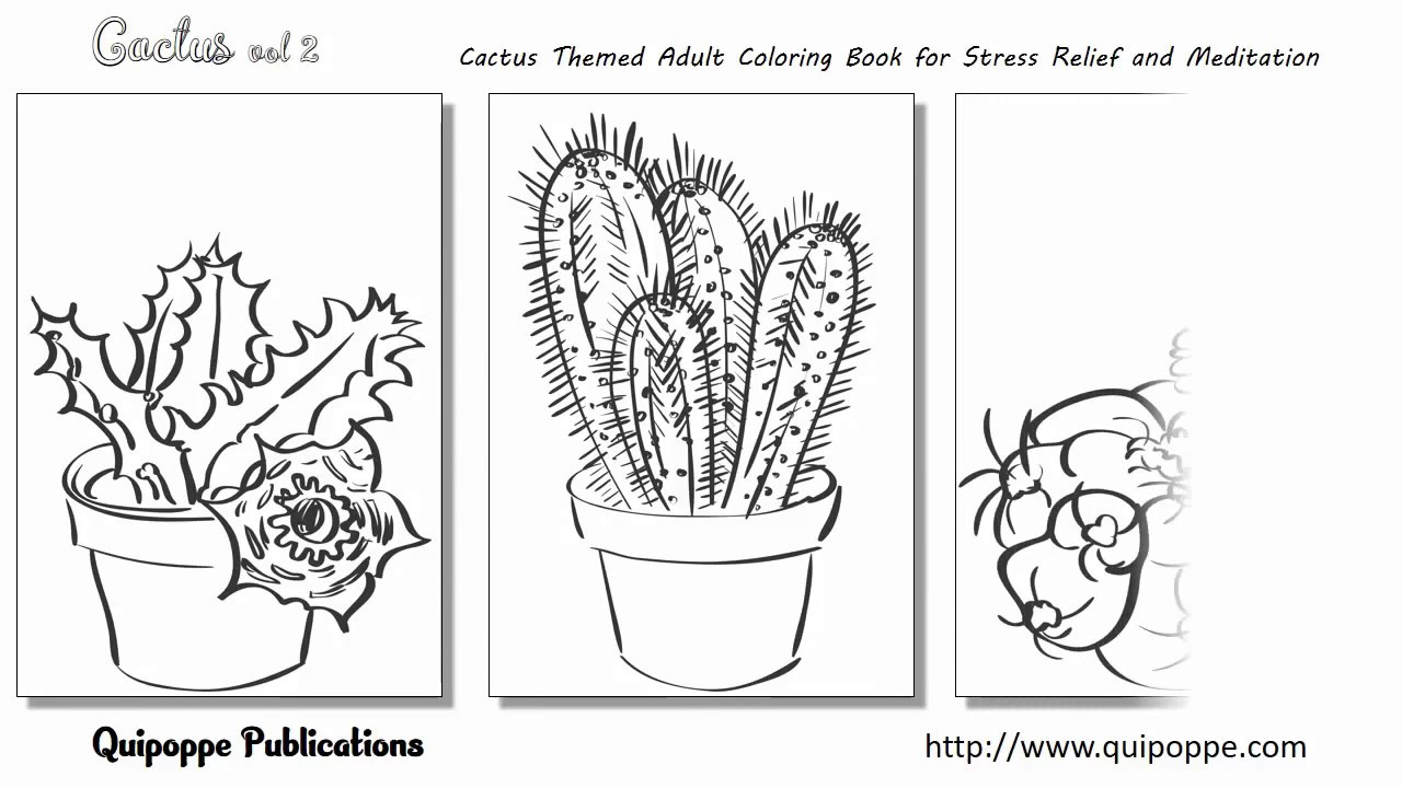 Coloring book adult meditation stress - Cactus Vol 2 Cactus Themed Adult Coloring Book For Stress Relief And Meditation By Quipoppe Publ