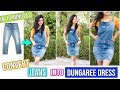 DIY: Convert Old Jeans Into Dungaree Dress In 10 Minutes| Easiest DIY Dungaree