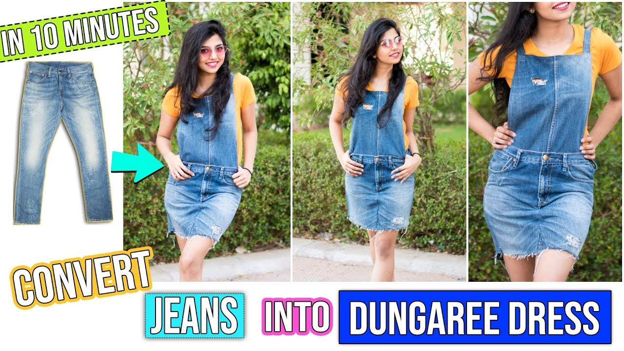 41deca22dce DIY: Convert Old Jeans Into Dungaree Dress In 10 Minutes| Easiest DIY  Dungaree