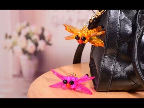 DIY Kawaii Bead Dragonfly Keychain 水晶串珠教学 可爱的蜻蜓挂饰