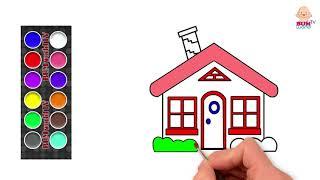 [How to draw] Drawing House  - Bé tập tô: Cái nhà