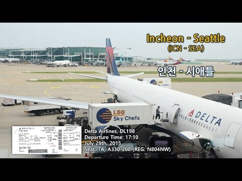 Incheon to Seattle (인천-시애틀,ICN-SEA),Delta Airlines 델타항공(DL198),Take off and Landing Video (이착륙영상)