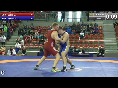 Semifinal GR - 130 kg: Sergey SEMENOV (RUS) df. Christian JOHN (GER) by FALL, 8-0