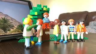 Story of Zacchaeus told with the playmobil people and Lego