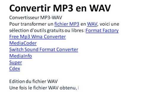 Convertir MP3 en WAV