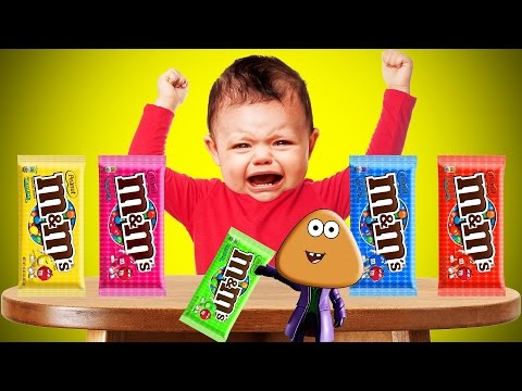 Thumbnail: Crying Bad Baby and Pou m&m's Chocolate Colors Learn Finger Family Collection | Kids Songs