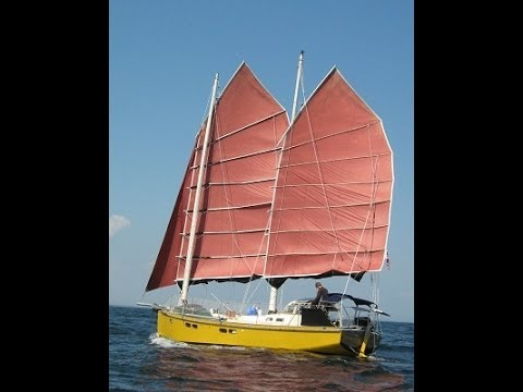 Schooner For Sale >> Terrapin #2. A Junk Rigged Sailboat travels in Maine with a family aboard in 2012 - YouTube