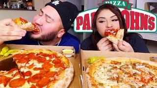 Papa Johns Cheesy pizza MUKBANG w/ Steven Sushi