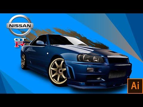 Nissan GTR R34 : Illustrator Realistic Car Illustration : All Layers