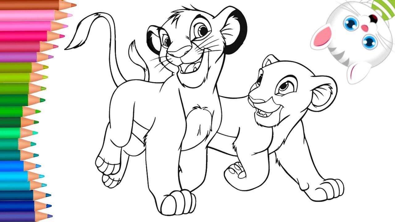Rey Leon Simba Y Nala Dibujos Para Colorear Dibujos Para Pintar Con Mimi Aprender Colores