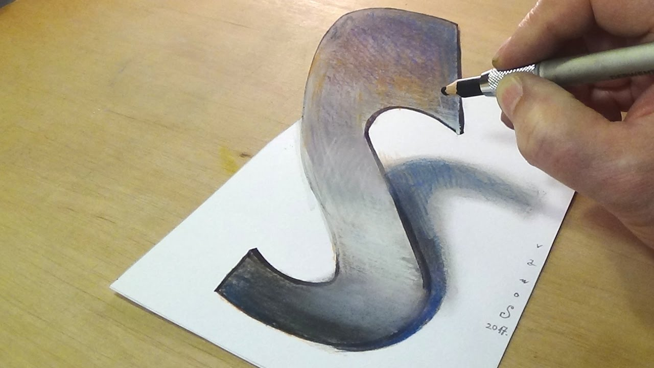 Trick Art Drawing - How to Draw 3D Letter S - Anamorphic Illusion ...