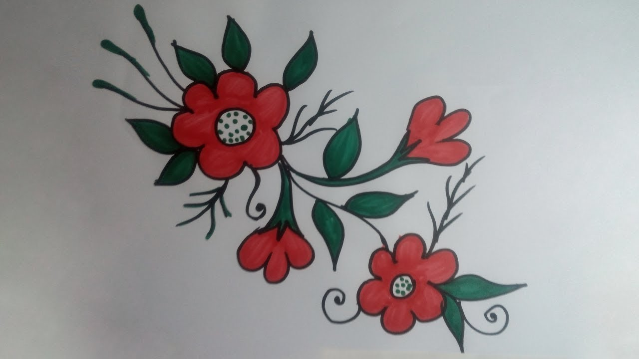 Beautiful Flower Designs Simple Flower Designs Drawing Color Pencil Drawing Youtube