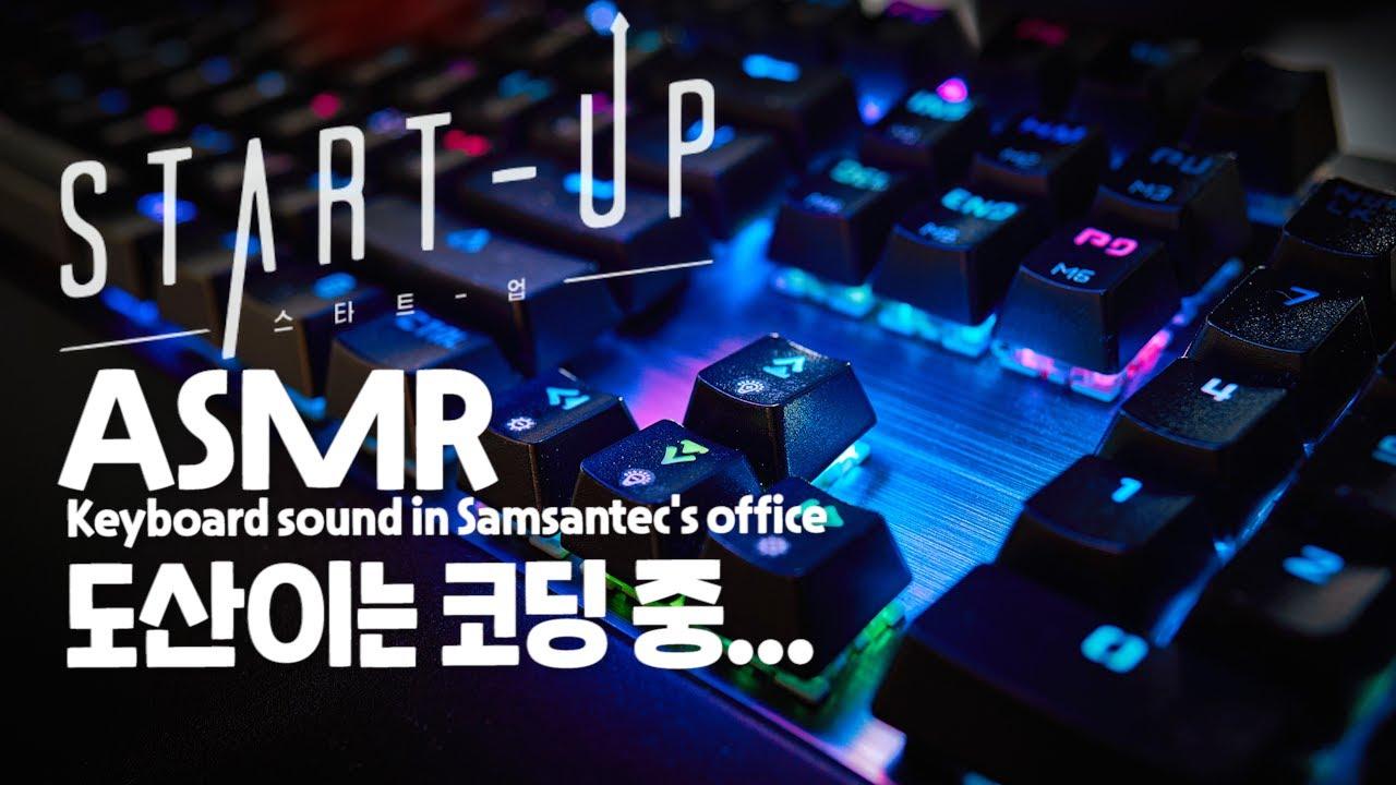 스타트업 ASMR - 도산이는 코딩중.. | 공부할 때 듣기 좋은asmr | 'Start Up' Keyboard sound in Samsantec's office ambience