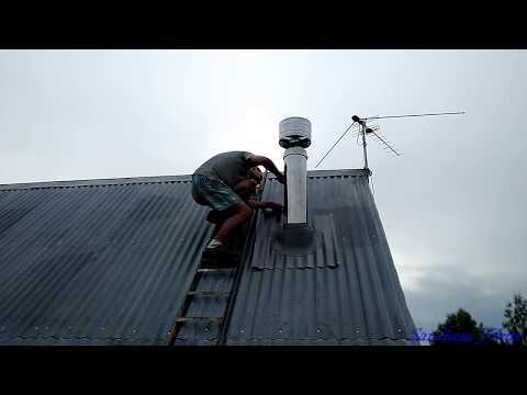 Установка печи и дымохода - от А до Я - подробное видео.