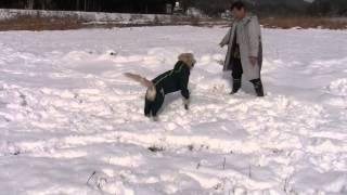 Slush combat sult  を着て雪遊び1