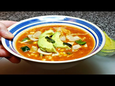 Spicy Tortilla Soup with Shrimp and Avocado