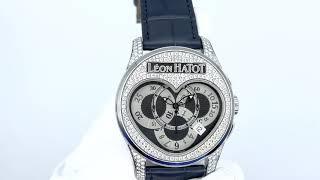 Vidéo: Montre Leon Hatot Chronolove Acier Diamants Automatique vers 2009 . 40 mm