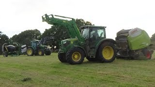 Baling & Wrapping for Haylage with John Deeres