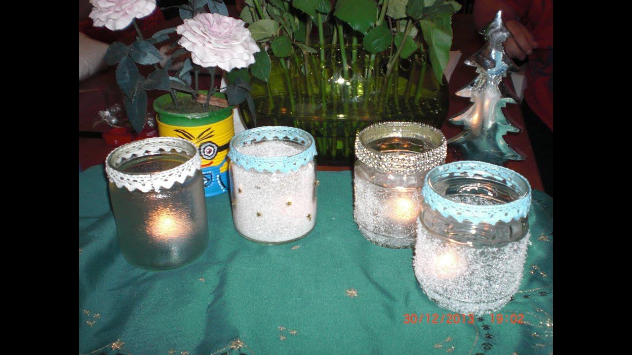 DIY - 4 Varianten / Ideen - gefrostete geeiste Windlichter Gläser
