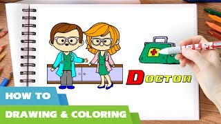Doctor coloring pages I How to draw doctors bag doctor