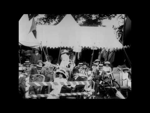 Aug. 4, 1913 - Spectators at sporting event in Kent (speed corrected w/ added sound 1080p)