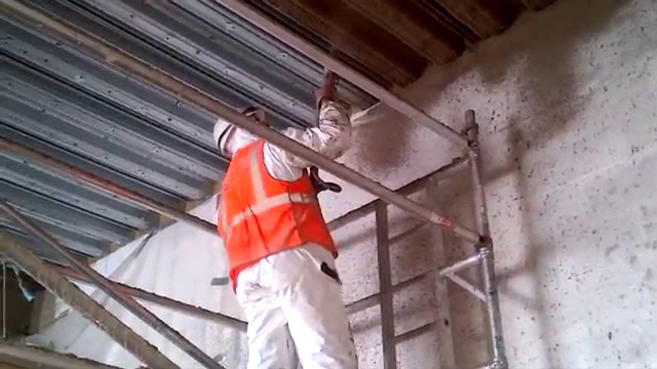 Cementitious Spray Fire Proofing Application To Soffit