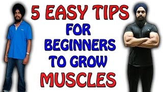 5 EASY TIPS FOR BEGINNERS TO GROW MUSCLES (HINDI)