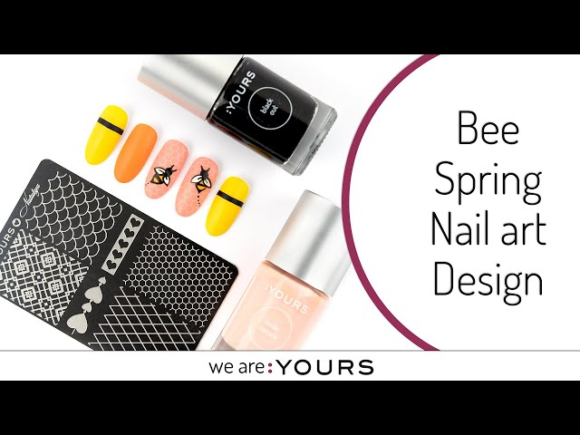 Spring Nail art Design with a Bee
