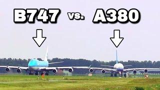 ᴴᴰ ✈ A380 vs. B747 DOUBLE LINEUP on Runway!!