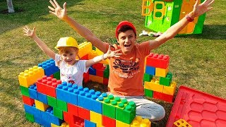 Alena and Pasha build a playhouse for Dog Ray