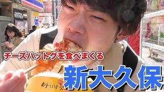 【新大久保】チーズハットグを見つけたら即購入!食べ歩きハットグじゃんけん!!