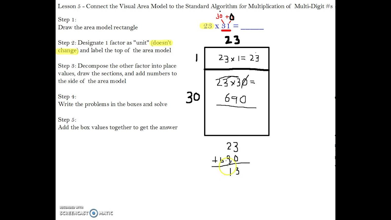 module 2 lesson 5 connecting the area model to the standard