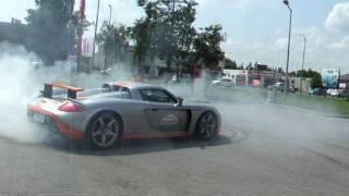 Sick Porsche Carrera GT burnout and drift in Poznan, Poland