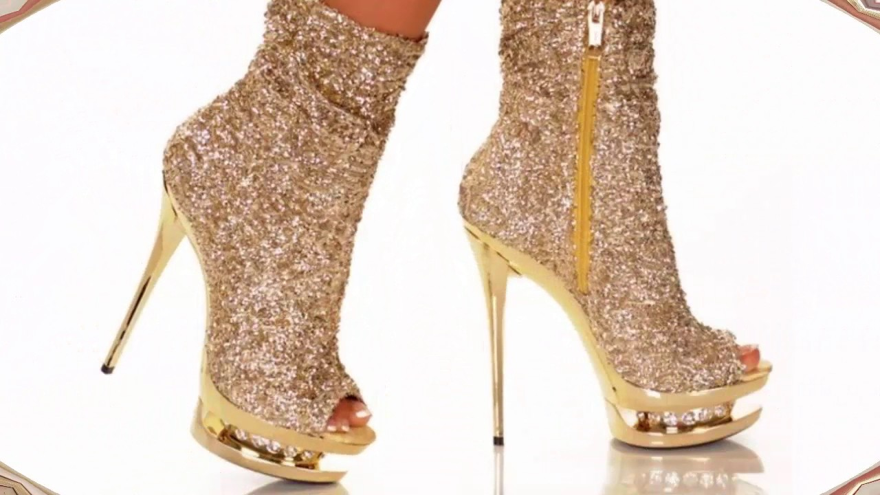 golden stylish high heel shoes designs 2017