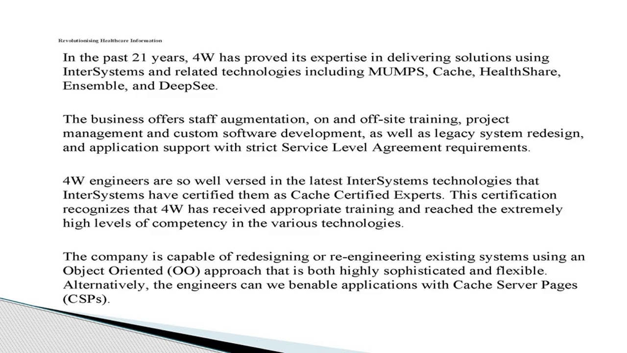 4w Technologies Healthcare Innovation Using Intersystems Cache
