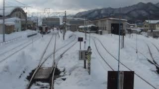 会津鉄道「リバティリレー号」が終点の会津田島駅に到着(車内より)